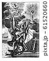 Vintage Antique Religious Drawing or Engraving of Woman Praying in at the Altar with Angels Around. 61520660
