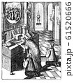 Vintage Antique Religious Drawing or Engraving of Praying Priest and Two Altar Boys in Church Celebrating Mass. 61520666