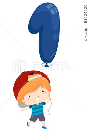 Kid Boy Balloon Number One Illustration 61524526