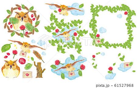 フクロウ 葉 木の葉 61527968