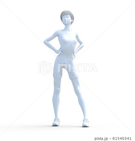 ホワイトボディー ポーズ 若い女性 perming3DCGイラスト素材 61540341