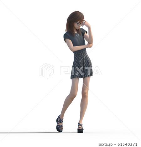 ポーズするカジュアルファッションの女性 perming3DCGイラスト素材 61540371