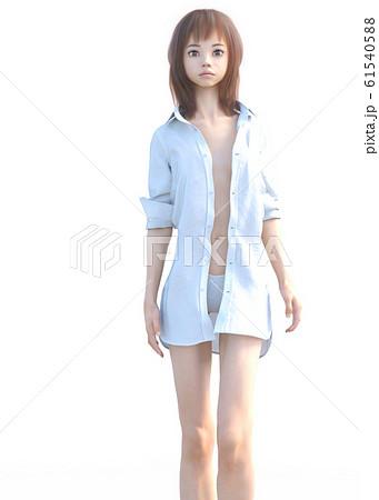 スリムな女性 シャツ perming3adcg イラスト素材 61540588