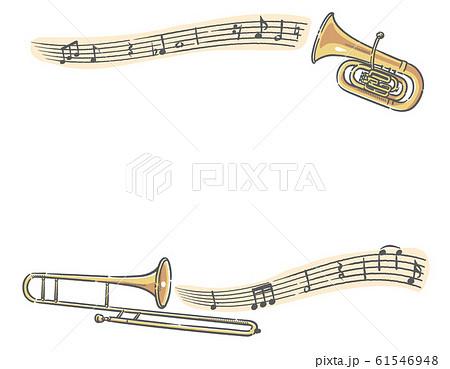 チューバ、トロンボーンと楽譜、音符のフレー 61546948