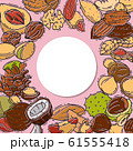 Nuts and seeds with paper label vector illustration. Mixed labelled nuts. Different nut isolated and labels. 61555418
