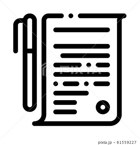 Agreement Pen Icon Vector Outline Illustration 61559227