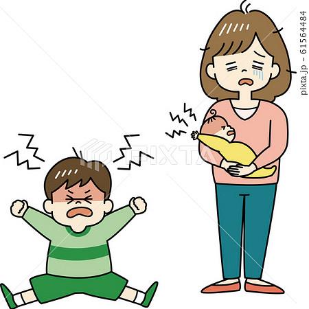 イヤイヤ期の子どもに疲れ果てるお母さん 61564484
