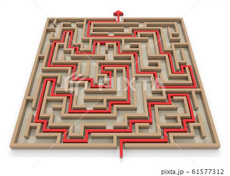 ゴールに向かう矢印。四角形の迷路。巨大な迷路。3Dレンダリング。3Dイラスト 61577312