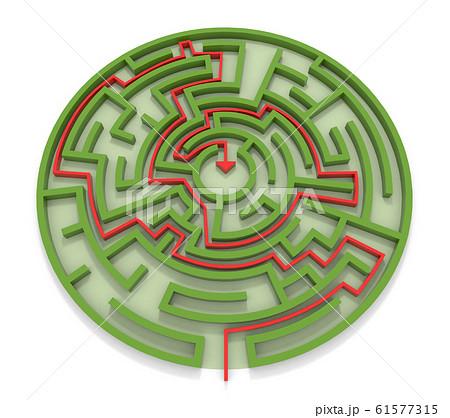 ゴールに向かう矢印。丸い迷路。緑の壁。3Dレンダリング。3Dイラスト迷路, 壁, 緑, 回答, 矢印 61577315