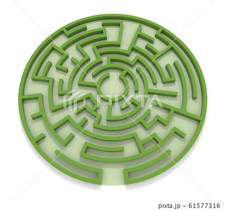 丸い迷路。緑の壁。3Dレンダリング。3Dイラスト 61577316