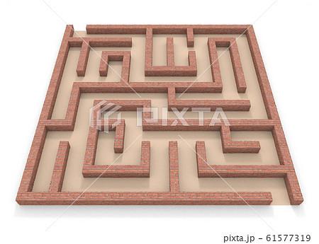 四角形の迷路。レンガの壁。3Dレンダリング。3Dイラスト 61577319