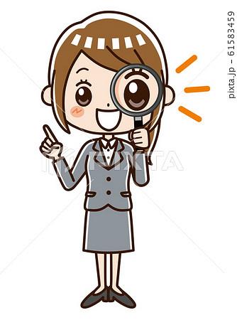 ビジネスウーマン 虫眼鏡 笑顔 61583459