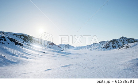Aerial Landscape of snowy mountains and icy shores 61586591