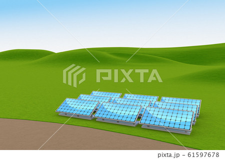 ソーラーパネルを設置。太陽光を受けて発電する。3Dイラスト 61597678