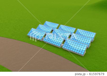 ソーラーパネルを設置。太陽光を受けて発電する。3Dイラスト 61597679