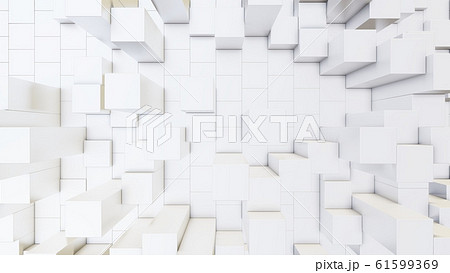 Abstract 3D illustration of white cubes background 61599369