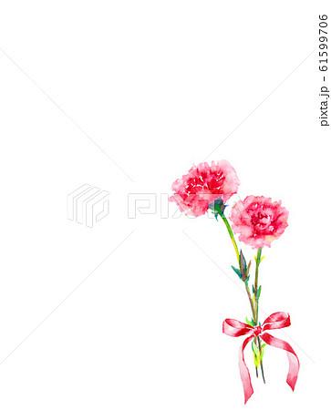 花 カーネーション リボン 水彩 イラスト 61599706