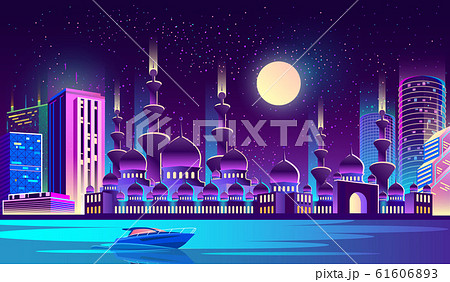 night city with muslim mosque, skyscrapers. 61606893