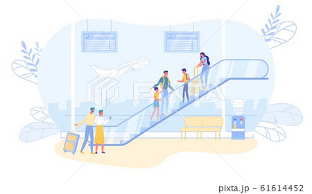 Airline Passengers Characters Stand on Escalator. 61614452