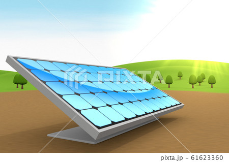 設置されたソーラーパネル。自然と青空。3Dイラスト 61623360
