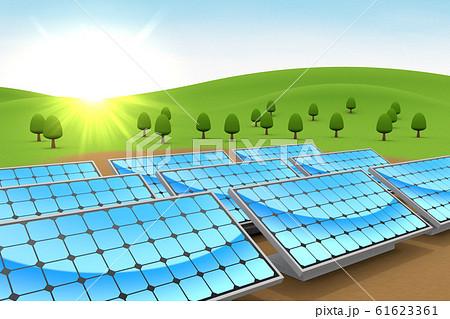 設置されたソーラーパネル。自然と青空。3Dイラスト 61623361