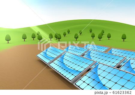 設置されたソーラーパネル。自然と青空。3Dイラスト 61623362