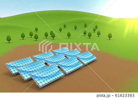 設置されたソーラーパネル。自然と青空。3Dイラスト 61623363