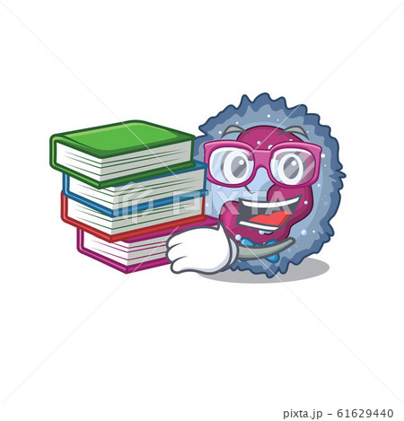 Cool and clever Student neutrophil cell mascot cartoon with book 61629440