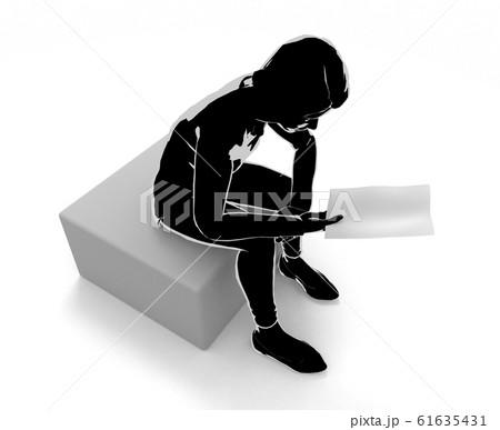 手紙を見る女性。大事な連絡をうける。3Dイラスト 61635431