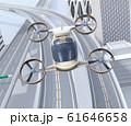 高速道路の上に飛行している空飛ぶクルマのイメージ 61646658
