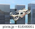 高速道路の上に飛行している空飛ぶクルマのイメージ 61646661