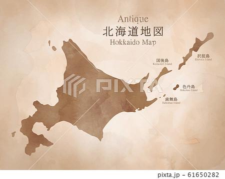 水彩風アンティーク北海道地図 61650282
