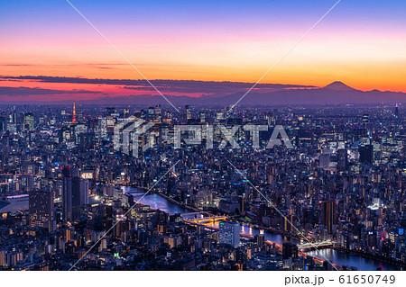 《東京都》東京都市夜景・都心全景 61650749