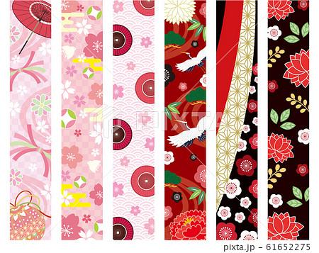 オシャレな春の和柄帯 仕切りライン素材 61652275