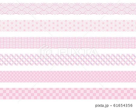 和柄パターン ピンク 帯 61654356