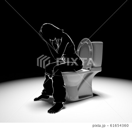 下痢に襲われる。便秘症状に悩む。3Dイラスト 61654360
