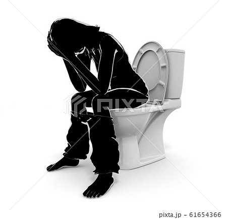 便秘に苦しむ。下痢症状の女性。3Dイラスト 61654366