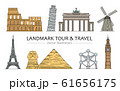 Landmarks, tour and travel icons set of vector cartoon illustrations isolated. 61656175