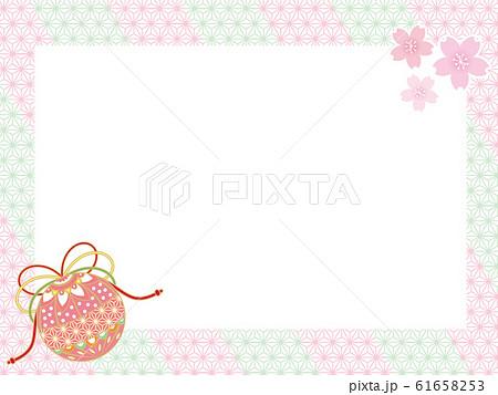 和柄パターン ピンク メッセージカード 61658253