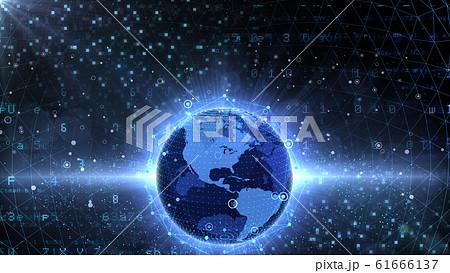 地球 宇宙 世界 ワールド デジタル ネットワーク テクノロジー アメリカ, 北米 61666137