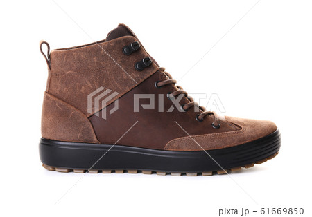 Pair of brown male boots isolated over white background 61669850