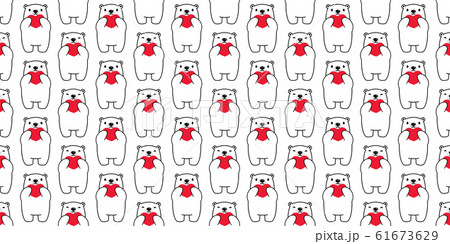 Bear seamless pattern heart valentine vector polar bear teddy hug cartoon scarf isolated repeat wallpaper tile background illustration doodle white design 61673629
