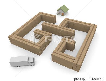 迷路の中を配達する。家に荷物を届ける。3Dイラスト 61680147