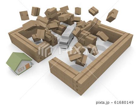 壁を破壊するトラック。最短距離で配達する。3Dイラスト 61680149