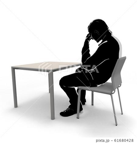 考える男性。椅子に座る人物。元気がない男性。3Dイラスト 61680428