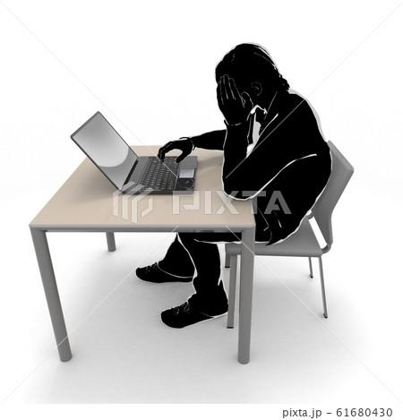 仕事で失敗する。落ち込む男性。ノートパソコンを使用する。3Dイラスト 61680430