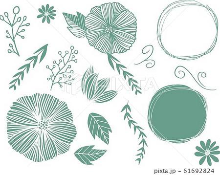 自然 手書き 手描き 素材 ナチュラル ベクター イラスト 素材 自然 植物 セットのイラスト素材