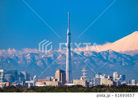 《東京都》富士山とスカイツリー・東京都市風景 61693657