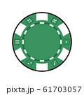 グリーンチップのイラスト。チップはルーレットやポーカーなど、カジノゲームで賭けるときに使うコイン。 61703057