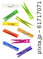 Colorful cloth pegs on white background 61717071